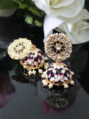 Floral stud style kundan studded meenakari jhumki earrings   kauracious.com