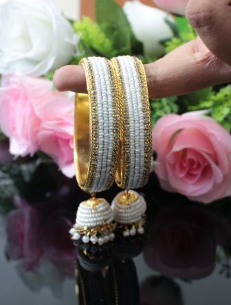Pearl Studded Jhumki Bangles | kauracious.com
