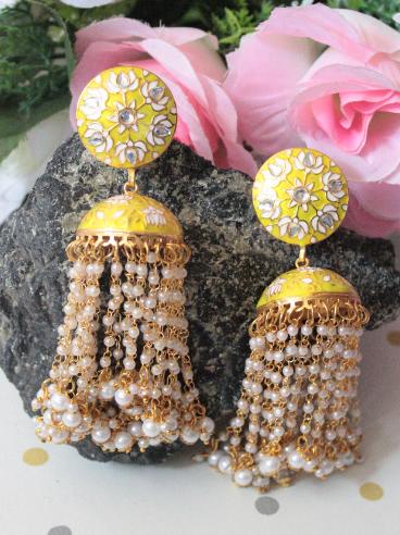 Pearl Jhalar Meenakari Jhumki Earrings | kauracious.com