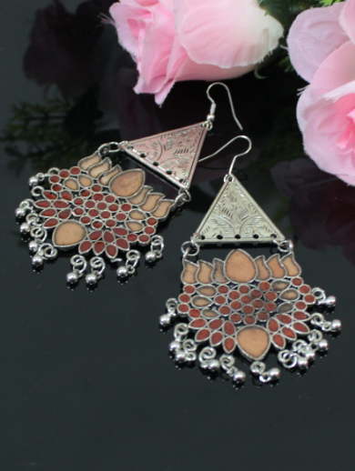 Lotus Carved Afghani Earrings | Kauracious.com