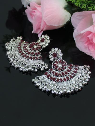 Faux stone studded jhalar earrings | Kauracious.com