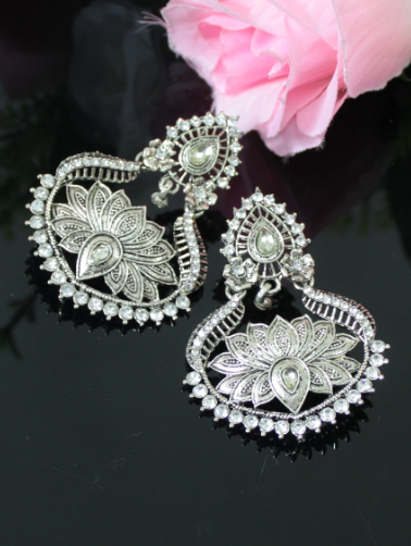 Faux Stone Studded lotus carved danglers | kauracious.com