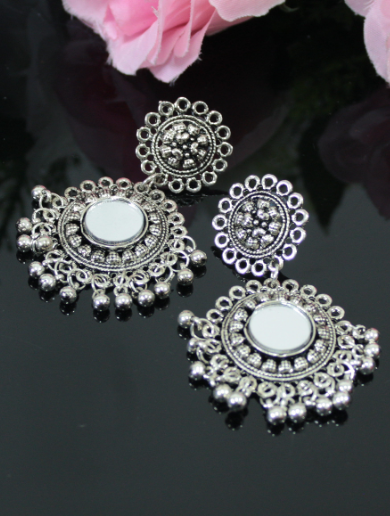 Oxidised Mirror Earrings | kauracious.com