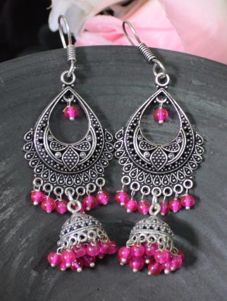 Oxidised Jhumki studded danglers | kauracious.com