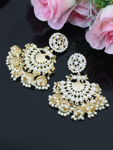 Faux Kundan studded five Jhumki Earrings | kauracious.com