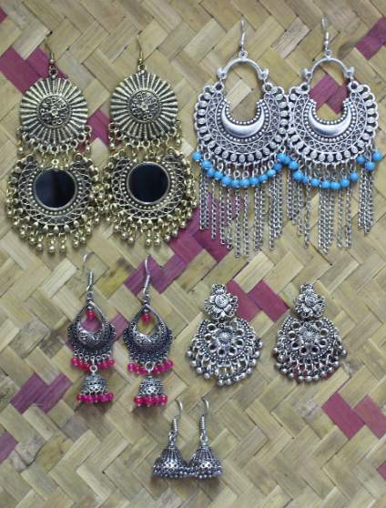 Pack Of 5 Regular Wear Oxidised Earrings Set | kauracious.com