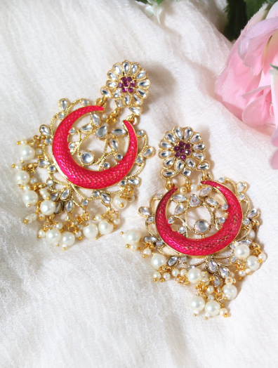 Faux Kundan Studded Meena work floral stud style earrings | kauracious.com
