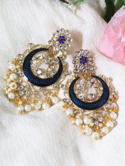 Faux Kundan Studded Meena work floral stud style earrings | kauracious.com