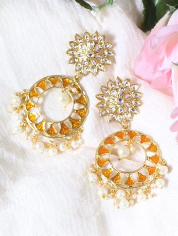 Faux Kundan Studded Floral Stud Style Traditional Earrings | kauracious.com
