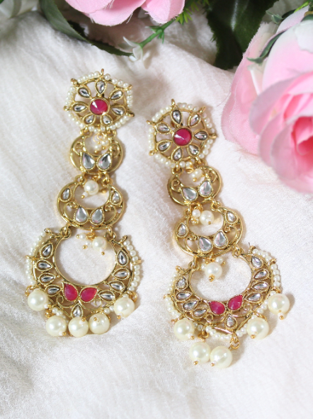 Regal Inspired Faux Pearls studded Kundan Layered Earrings | Kauracious.com