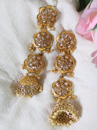 Regal Inpsired polki studded layered long Jhumki Earrings | Kauracious.com