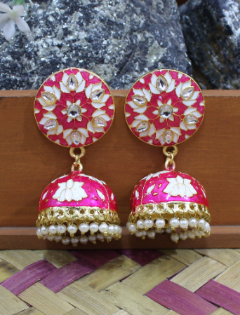 Brass based Meenakari Jhumki | kauracious.com