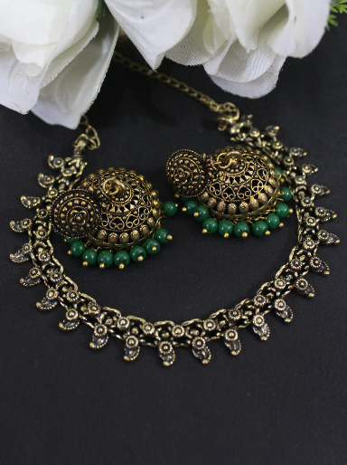 Oxidised Gold Kolhapuri Set With Green beads Jhumki Earrings | kauracious.com