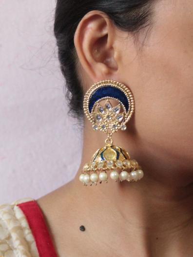 Oval Shaped Stud Style Meenakari Jhumki Earrings   Kauracious.com