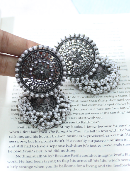 Black Metal Big Stud Style Gajra Jhumka Earrings | kauracious.com