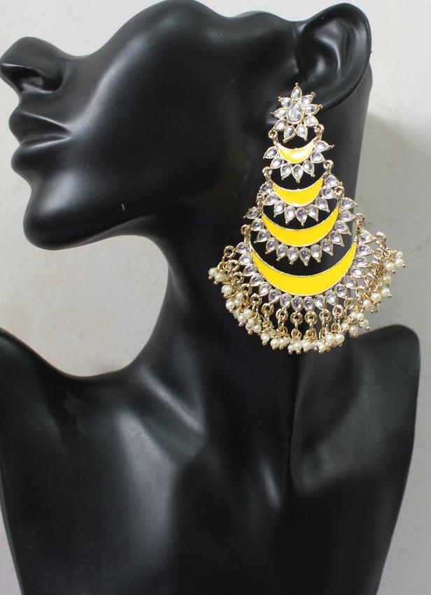 Five Layered Meenakari Traditional Earrings   Kauracious.com