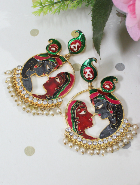 Radhe Krishna Brass Based Meenakari Earrings | kauracious.com