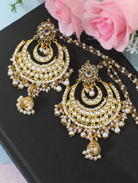 Oversized Faux Pearl Studded Kundan Chandbaali Earrings with Kaanchain | kauracious.com