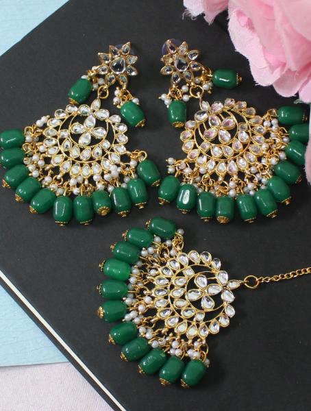 Green Beads studded Faux Kundan Maang Tikka Earrings Set | kauracious.com