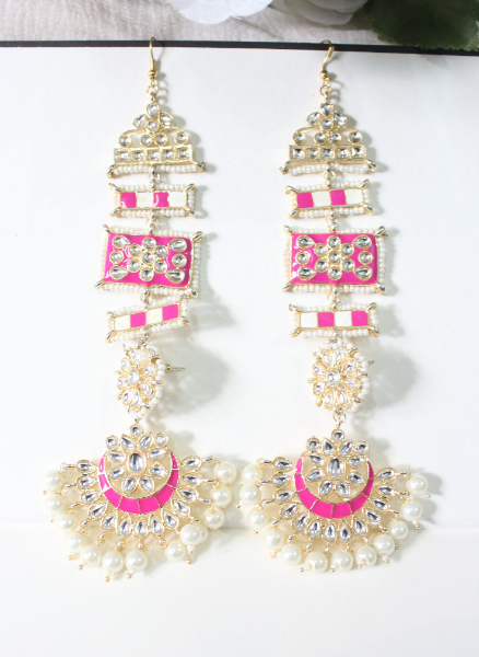 Faux Kundan Studded Meenakari Kanpatti Earrings | kauracious.com