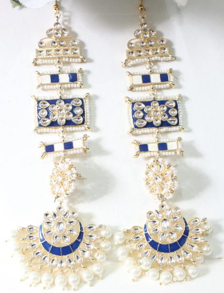 Faux Kundan Studded Meenakari Kanpatti Earrings | Kauracious.com