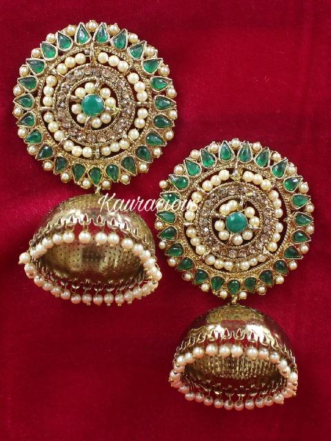 Bronze-toned classic kundan jhumka | kauracious.com