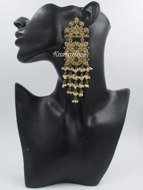 Gold plated reverse AD stoned traditional drop chandbali earrings   Kauracious.com