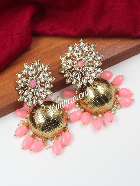 Floral Stud Style Kundan studded Oversized Jhumka  | kauracious.com