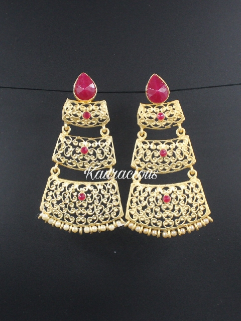 Matte gold layered traditional earrings | kauracious.com