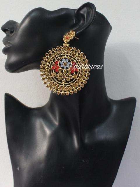 Oversized floral carved meena work earrings   Kauracious.com