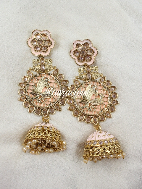 Polki studded classic kundan earrings | Kauracious.com