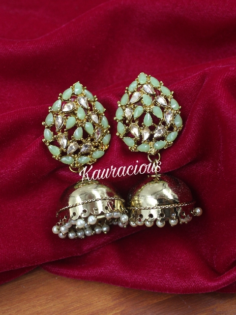 Leaf shaped jhumki earrings | Kauracious.com
