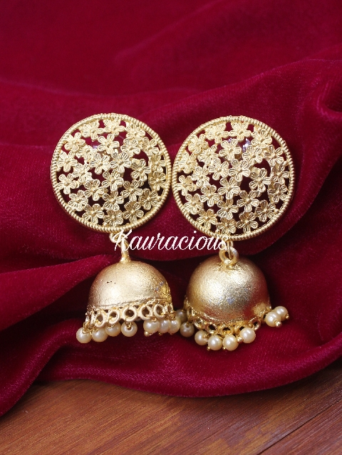 Matte finish floral jhumka earrings | Kauracious.com