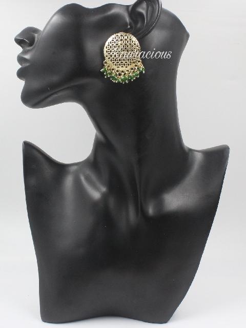 Oversized and gold toned beaded earrings   Kauracious.com