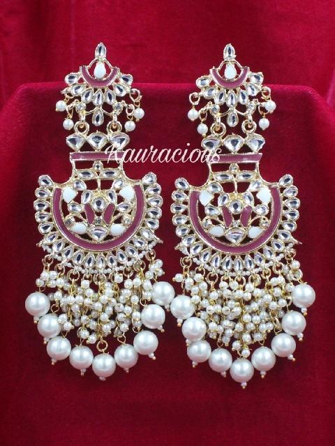 Meenakari & kundan earrings with detailed faux pearl work   Kauracious.com