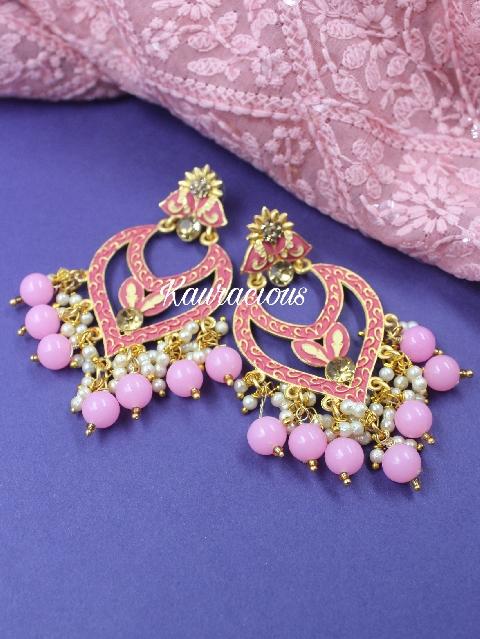 Pink beaded meenakari classic earrings | Kauracious.com