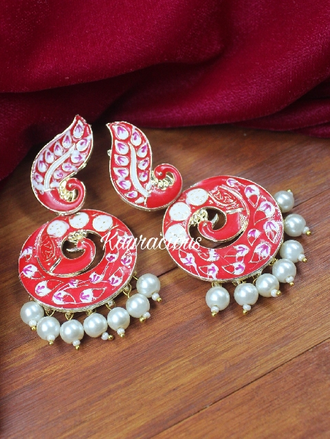Red Meenakari Traditional Earrings | Kauracious.com
