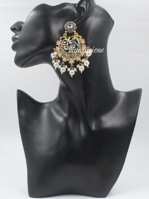 Peacock Carved meena work traditional earrings  | Kauracious.com