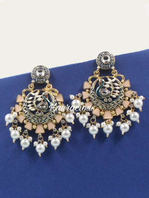 Peacock Carved meena work traditional earrings  | kauracious.com