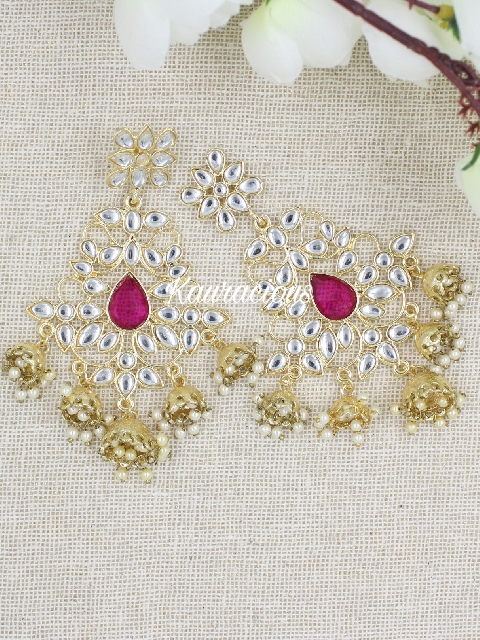 Faux Kundan studded five jhumki drop traditional earrings | Kauracious.com