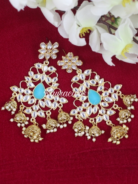 Faux Kundan studded five jhumki drop traditional earrings | Kauracious.com