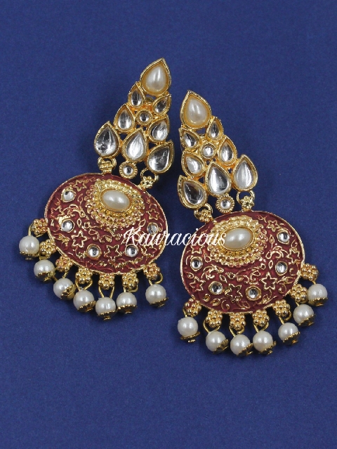 Maroon gold-platted faux stoned kundan traditional earrings | kauracious.com