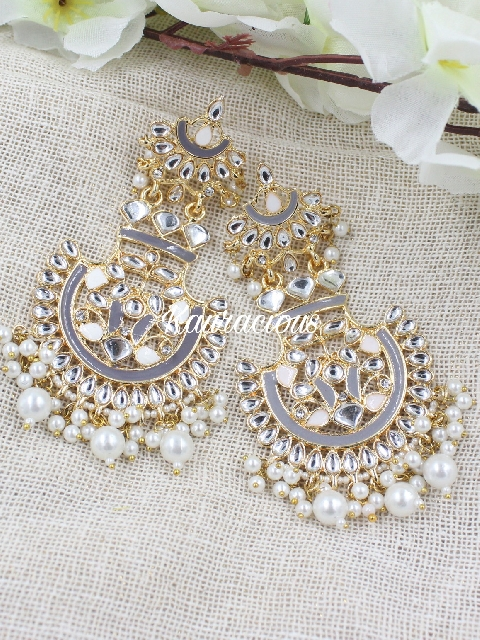 Faux pearl studded classic drop kundan earrings | kauracious.com