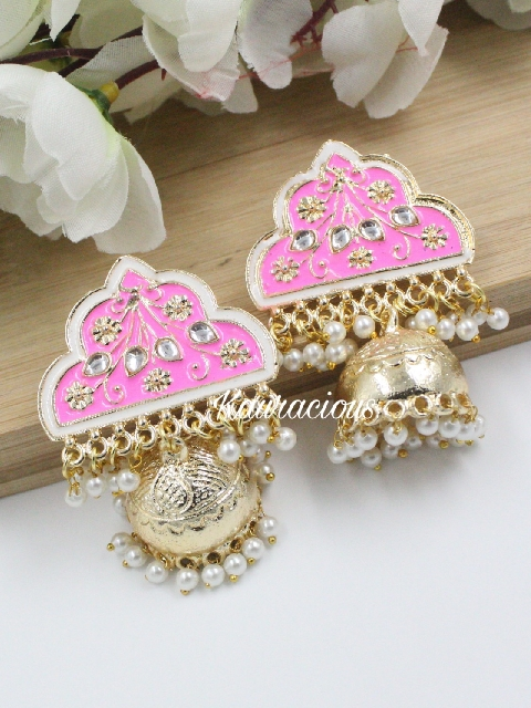 Gold plated traditional meenakari jhumkas | Kauracious.com