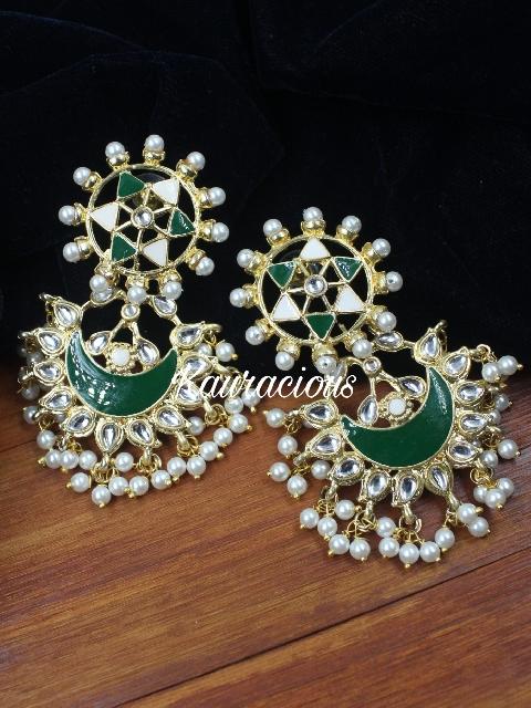 star shaped studded meenakari earrings | kauracious.com