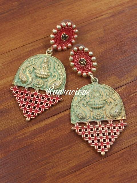 Laxmi Carved Matte Meenakari Earrings   Kauracious.com