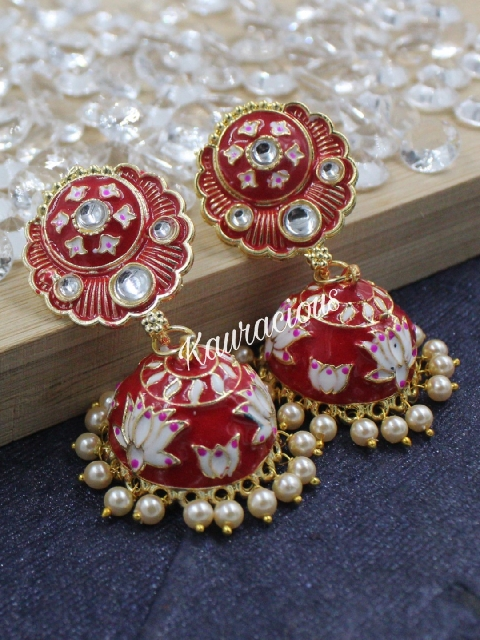 Small Meenakari Jhumka Earrings | Kauracious.com