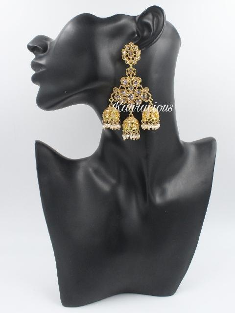 Reverse AD Studded Tripple Jhumki Traditional Earrings | Kauracious.com