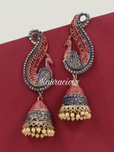Peacock shaped meenakari jhumkas | kauracious.com