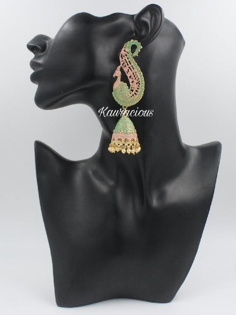 Peacock shaped meenakari jhumkas   Kauracious.com
